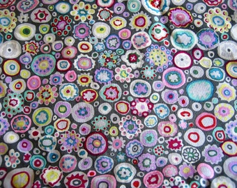 """SALE Ready Made Kaffee Fassett """"Paperweight Gray""""  Print and Vintage Chenille Baby or Lap Quilt 39"""" x 45"""""""