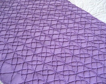 "Cabin Crafts Mini Double Wedding Ring Purple Grape Vintage Chenille Bedspread Fabric 25"" x 17"" #2"
