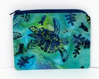Small Zipper Pouch, Turtle Reef Batik, Hawaiian Sea Turtle