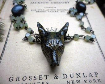 Wolf In Sheep's Clothing XiV - Carved Ocean Kambaba Wolf Head Pendant, Moss Agate, & Blue-Green Apatite beaded Rosary Bead Necklace Occult