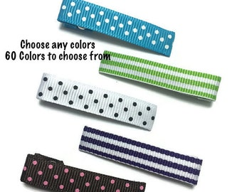 25 Dots & Stripes Lined Alligator Clips, Lined Hair Clips, 45mm Single Prong, Partially Lined, Ribbon Lined Clips, Ribbon Covered Clips