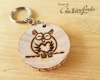 Wooden Charms, wine charm,  Owl Wooden Keychain