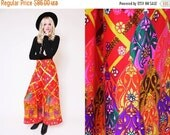 30% OFF PRES SALE Vtg 70s Bomb  Trippy Red Groovy Psychedelic Palazzo Pants Lattice Flower Culottes Xl