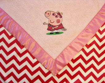 Baby Blanket Pink Fleece Pink and WhiteChevron Minky with with Peppa Pig Ready to Ship