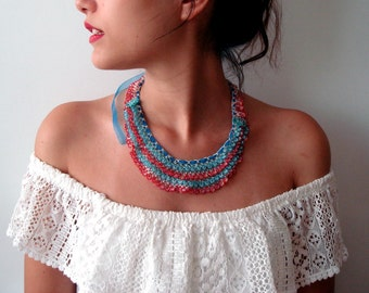 Beaded Lace Necklace Red&Blue statement Bib necklace Crochet jewellery Beadwork