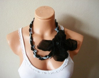 Big Flower Necklace/ Statement Necklace/ Asymmetrical Jewelry