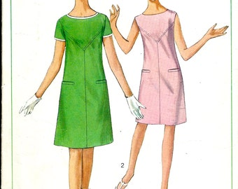 1960's Mod Sewing Pattern Simplicity 6306  A-Line Dress with Short Sleeves or Sleeveless , Beatle Era Dress , Go Go Boot Dress Bust 32