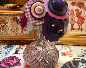 Button Flowers and Vase ~ Purple Cruet ~ Button Art ~ Retro Art ~ Gift for Crafter ~ Gift for Seamstress ~ Nursery Decor ~ Boho Art