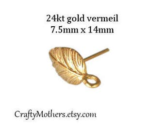 Take 15% off with 15OFF20, 1 PAIR Bali 24kt Gold Vermeil Leaf Earring Posts, 2 pcs, 14mm x 7.5mm, Artisan jewelry supplies, earrings, ornate