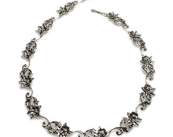 Silver Columbine Flower Necklace