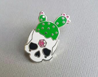 White Cactus Skull - Hard Enamel Pin
