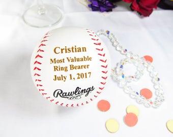 Gifts for Ring Bearers, Custom Engraved Personalized Basesball, Wedding Thank You Gifts, Baseball Wedding Theme Favors, MV Ring Bearer