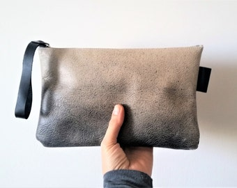Beige purse,  Makeup Bag , leather clutch  ,leather purse, painted leather Beige and black