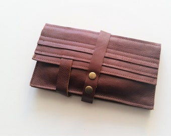 Red brown wallet - leather women wallet