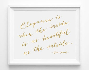 Coco Chanel, Chanel Quote, Modern Calligraphy Print, Words of Wisdom, Wall Decor, Girlfriend Gift, Fashionista, Gold Art, Wall Quote, Saying