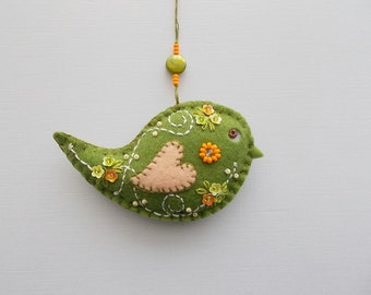 Felt Ornament Green Bird Wall or Tree Hanging with Little Flower Sequins Hand Embroidered Handsewn