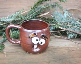 Worried Coffee Cup. Funny Startled Face Mug in Rustic Red Brown. Handmade Made in America Ug Chug Face Mug. Stoneware Clay Pottery Cup.