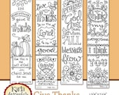 50% OFF SALE GIVE Thanks Color Your Own Thanksgiving Bible Journaling Bookmarks Illustrated Faith Instant Download Scripture Digital Printab