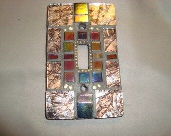 MOSAIC Light Switch Plate -  Single Switch, Wall Art, Wall Plate, Silver, Gold, Iridescent Black, Van Gogh Glass