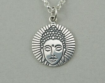 Buddha Necklace - Sterling Silver Yoga Necklace, Buddha Jewelry, Coin Necklace, Yoga Jewelry, Yoga Teacher Gift, Yoga Gifts, Buddhist