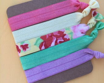 5 Pack Vintage Floral Tea Party Inspired Knot Hair Ties Fold Over Elastic Stretch Bracelet by Whimsical Elements