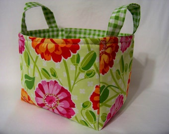 PK Fabric Basket in Zinnia Garden - Ready To Ship - Washable - Reversible