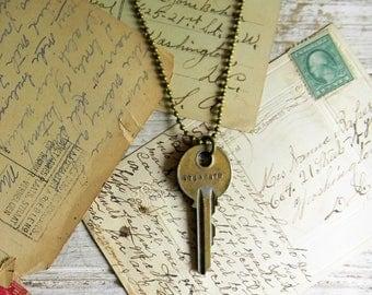 "Key Necklace, Stamped Key Necklace ""Eternity"" Key Jewelry, Key Pendant, Key Charm, Vintage Stamped Key Pendant Necklace, Old Key Jewelry"