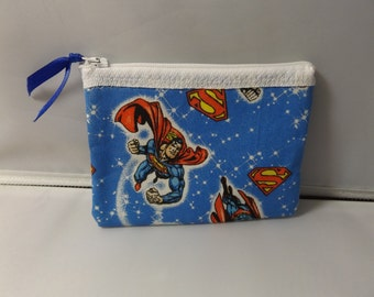 Superman Fabric Coin Purse- Handmade  DC Comic Man of Steel