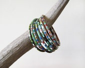 Collection of 7 Vintage Cloisonne Bracelets Bangles Multicolor