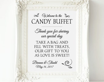 Personalized Candy Buffet Sign, Printable Wedding Candy Bar Sign, Candy Table Sign, Wedding Candy, Candy Bar Table, Sign for Candy Table