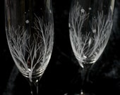 Winter Themed Bohemia Crystal Champagne Glasses, Hand Engraved Glass