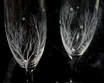 Pair of Winter Themed Bohemia Crystal Champagne Glasses, Hand Engraved Stemware, Snowflakes, Woodland, Nature, Celebration Flutes, Winter