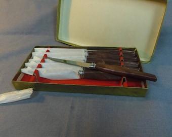 "Steak Knives, Set of 6 in original Box, Stainless Steel, Sheffield England 8.25"" long"
