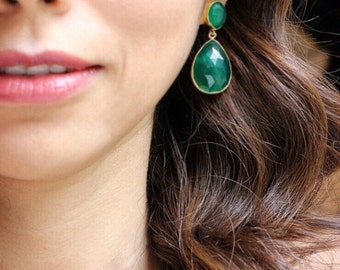Emerald Green Onyx Earrings - Bezel Set....LIMITED EDITION