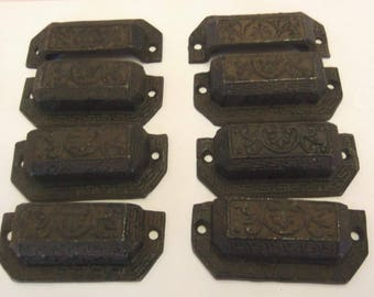 FREE SHIPPING 8 Drawer Pulls Cast Iron Bin Pulls Ornate Distressed Cottage Chic 3-1/4 Inch  Centers