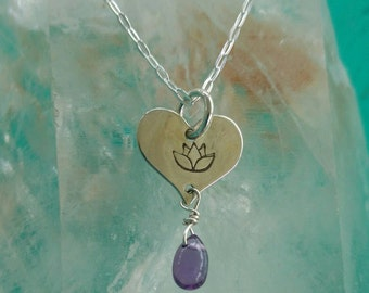 LOTUS LOVE Charm with Amethyst, Lotus Flower Jewelry, Tiny Heart Necklace with Lotus in Sterling Silver, Yoga Inspired Jewelry  (#051)