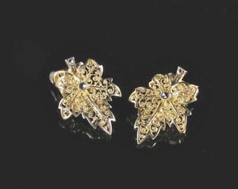 Vermeil Leaf Earrings, 800 Silver Earrings, Gold Leaf Earrings, Marcasite Earrings, Filigree Earrings, Gold Plated Silver Earrings