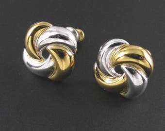 Anne Klein Knot Earrings, 14K Gold Post Earrings, Mixed Metal Earrings, Two Tone Earrings, Designer Earrings, Preppy Earrings