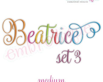 Beatrice 3 Monogram Font- Medium - BX files included- Instant Download Machine embroidery design