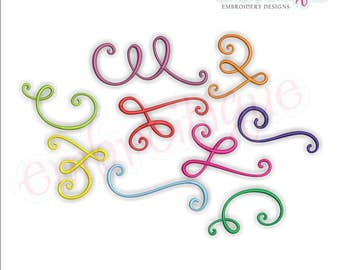 Curly Swirly Calligraphy Flourish Accent Embellishment SUPERSET -Instant Download Machine Embroidery Design