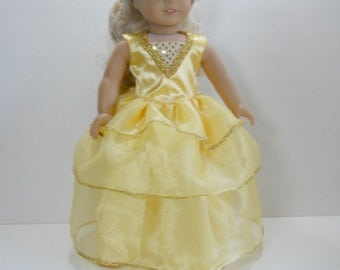 18 inch doll clothes fits dolls such as American Girl® 18 inch Party Dress in Yellow Full Length Ball Gown Belle Inspired, 03-1913