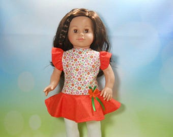 18 inch doll clothes, Orange Flower Top with White Leggings, 04-2008