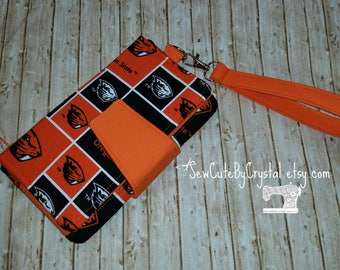 Ready to Ship - Oregon State University Beavers & Orange Wallet Clutch with 8 Credit Card Slots 1 Zipper pouch and 2 Slots for Money