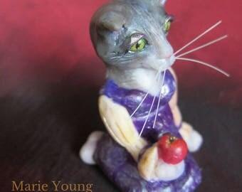 Cat Figurine. Gray and White Kitty. Sadie as Snow White Fairy Tale Art. Anthropomorphic Animal Art. Storybook Cat Sculpture