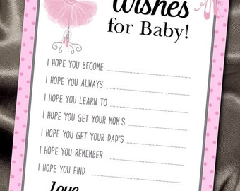 Baby Shower Party Activity Game Cards, Wishes for Baby to Be, Pink Ballerina Tutus and Ballet Slippers,