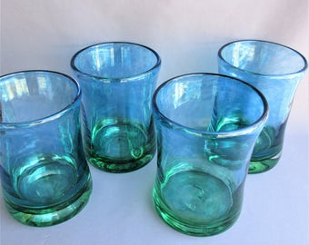 Hand  Blown Art Glass Tumblers  - Set of 4
