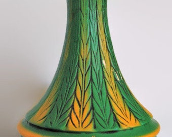 Vintage Chalkware Mid Century Lamp // Mad Men Lamp // Kelly Green & Yellow // Leaf Design // Table Lamp