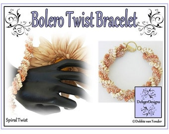 Twin Beads Beading Pattern, Tutorial, Bracelet - BOLERO