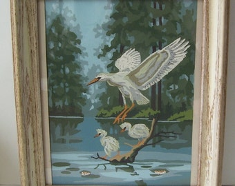 White Flying Swan with 2 Egrets Hand Painted Framed Wall Print,  Wood Frame with Glass Over Print, Water Front Decor, Cottage Print,