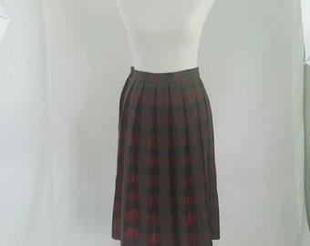 Vintage 1960s Plaid Wool Pleated Reversible Skirt